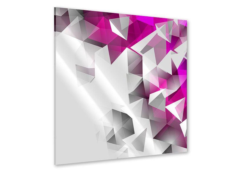 Acrylglasbild 3D-Kristalle Pink
