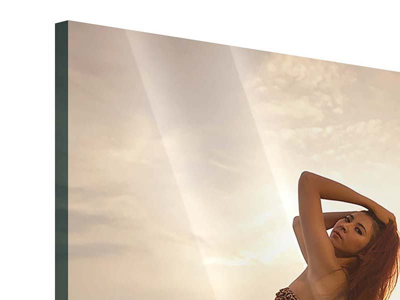 Acrylglasbild Bikini Schönheit bei Sonnenuntergang