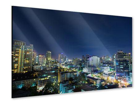 Acrylglasbild Skyline Nachts in Bangkok
