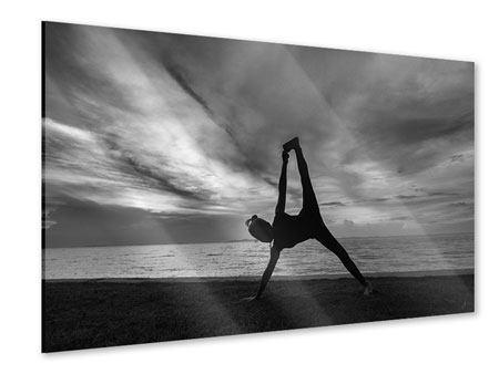 Acrylglasbild Yoga am Strand