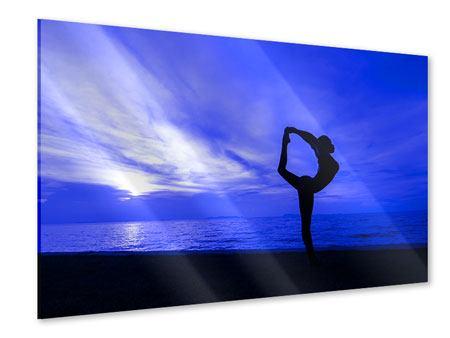 Acrylglasbild Yogaübung am Strand