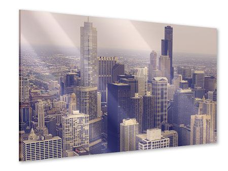 Acrylglasbild Skyline Chicago in Sepia