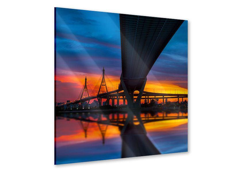 Acrylglasbild Bhumiboll-Brücke bei Sonnenuntergang