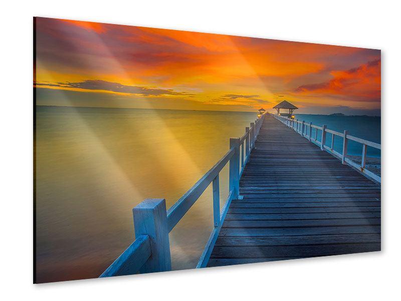 Acrylglasbild Eine Holzbrücke im fernen Osten