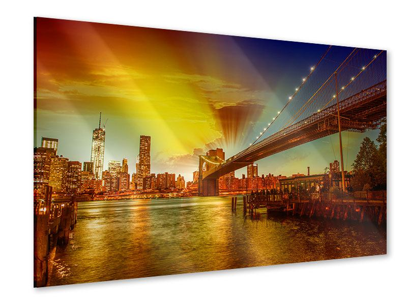 Acrylglasbild Skyline Brooklyn Bridge NY
