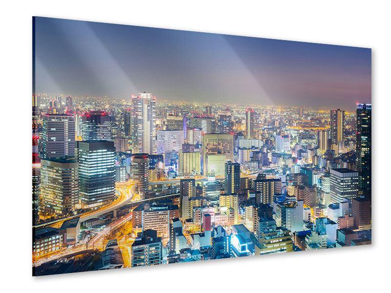 Acrylglasbild Skyline Osaka bei Sonnenuntergang