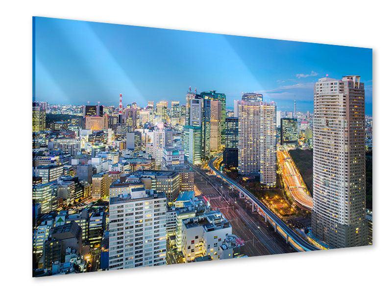 Acrylglasbild Skyline Tokio im Lichtermeer