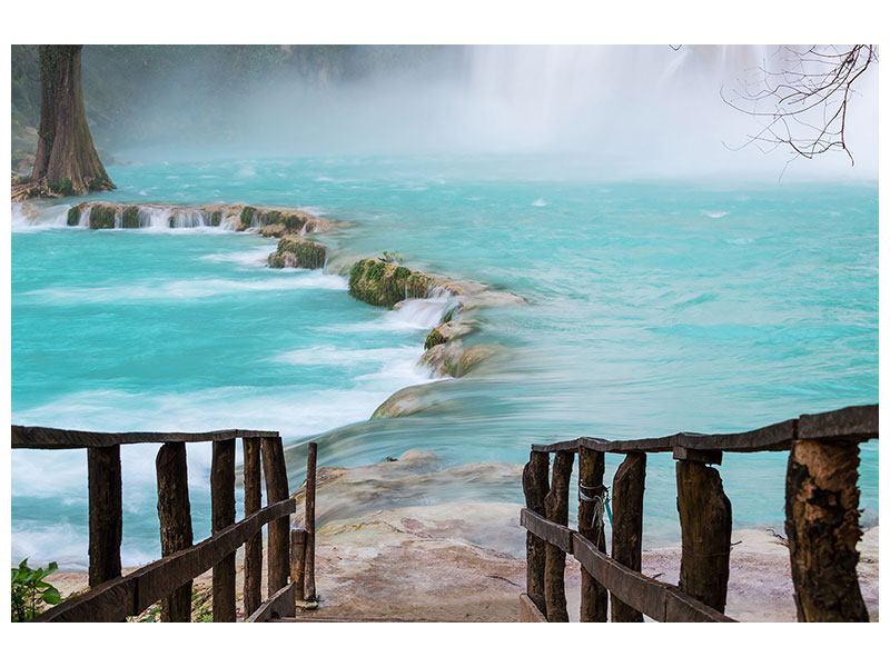 Acrylglasbild Haus am Wasserfall