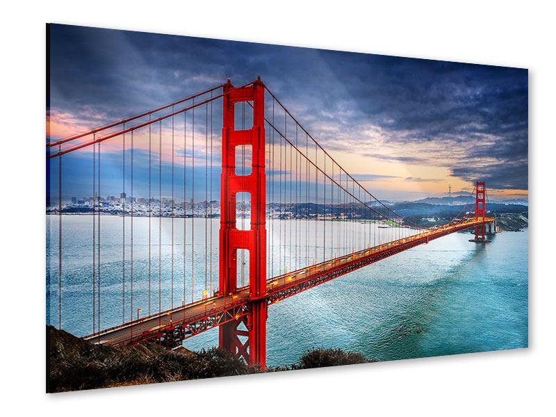 Acrylglasbild Der Golden Gate Bridge bei Sonnenuntergang