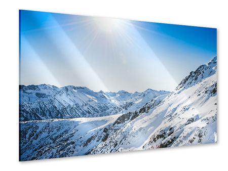 Acrylglasbild Bergpanorama im Schnee