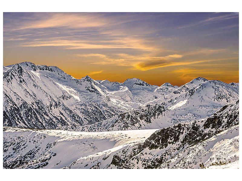 Acrylglasbild Sonnenuntergang in den Bergen