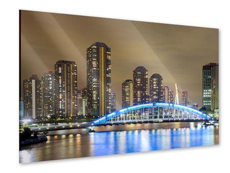 Acrylglasbild Skyline Tokio in der Nacht