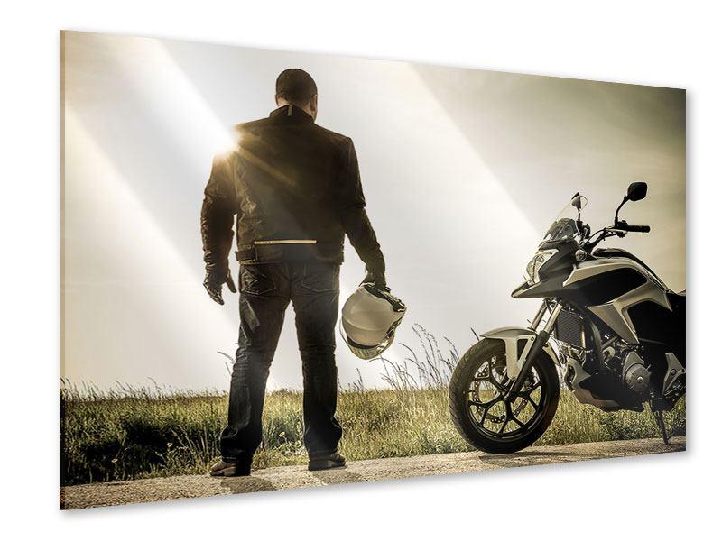 Acrylglasbild Biker in der Abenddämmerung