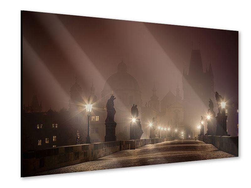 Acrylglasbild Die Karlsbrücke bei Nacht