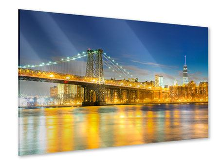 Acrylglasbild Brooklyn Bridge bei Nacht