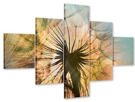 Acrylglasbild 5-teilig XXL Pusteblume