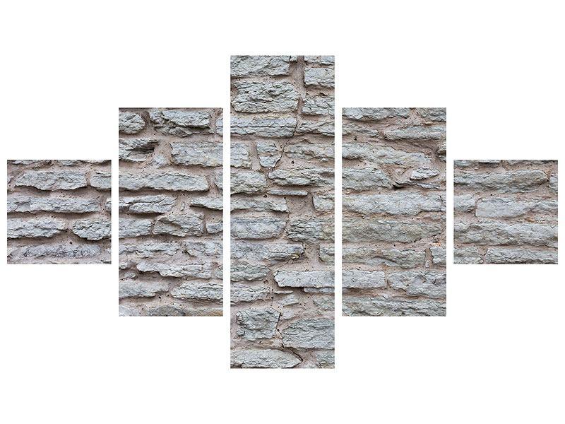 Acrylglasbild 5-teilig Steinmauer