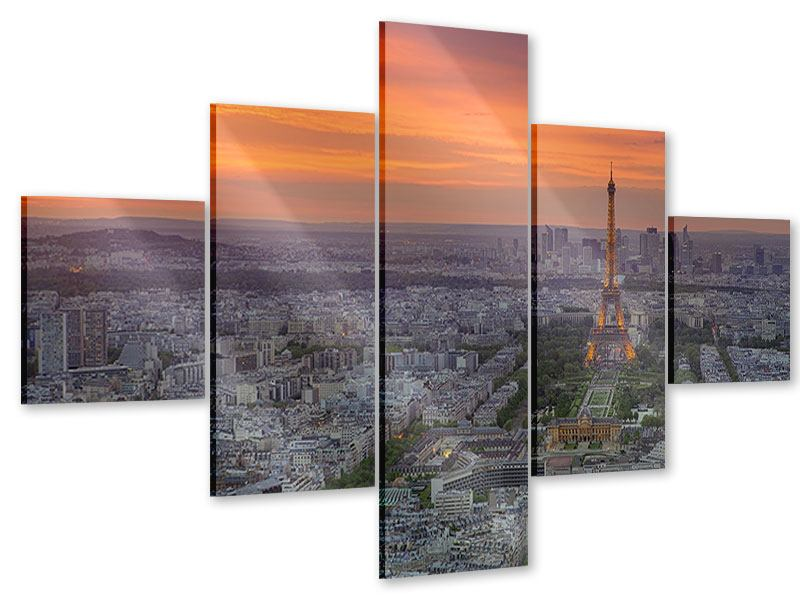 Acrylglasbild 5-teilig Skyline Paris bei Sonnenuntergang
