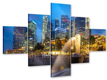 Acrylglasbild 5-teilig Skyline Singapur im Lichtermeer