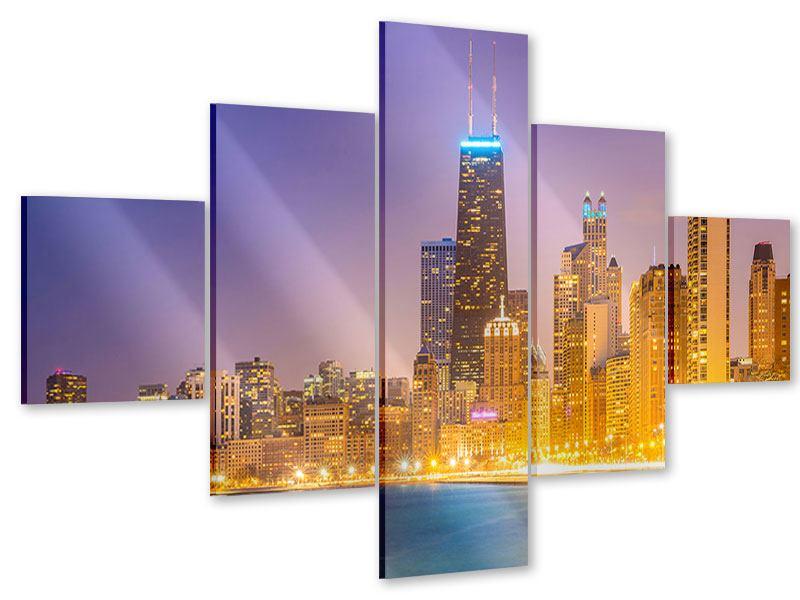 Acrylglasbild 5-teilig Skyline Chicago in der Nacht