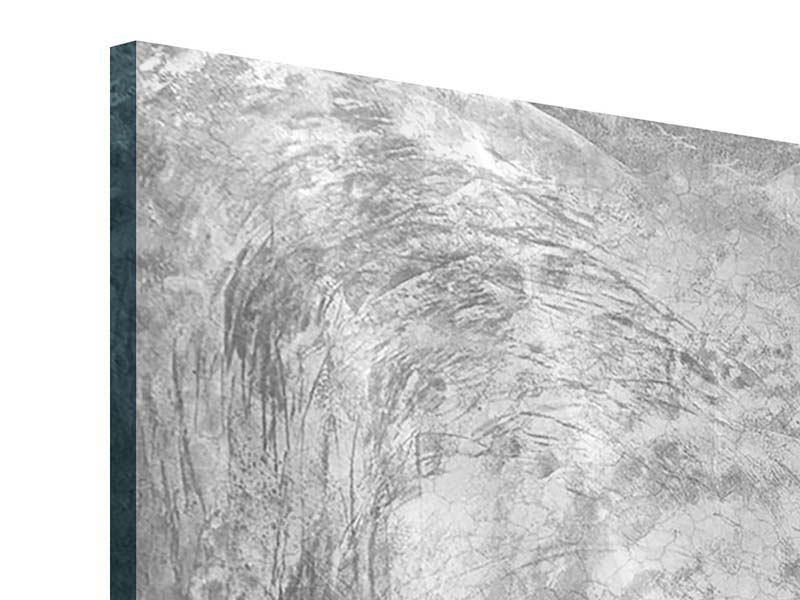 Acrylglasbild 5-teilig Wischtechnik in Grau