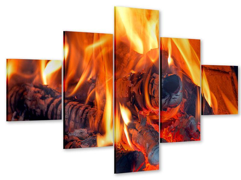 Acrylglasbild 5-teilig Lagerfeuer
