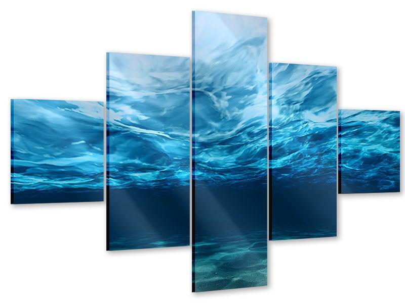 Acrylglasbild 5-teilig Lichtspiegelungen unter Wasser