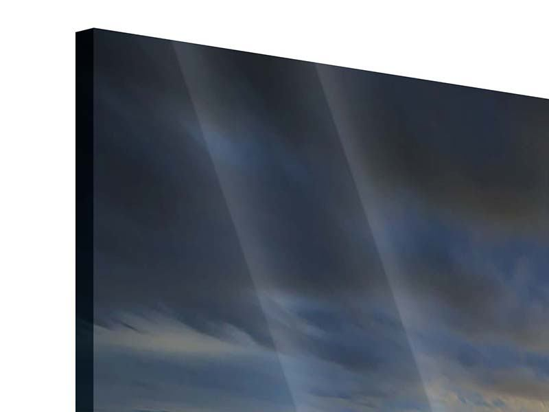 Acrylglasbild 5-teilig Der Sonnenuntergang bei der Holzbrücke