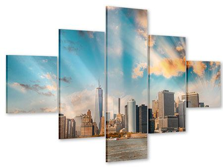 Acrylglasbild 5-teilig Skyline New York from the other Side