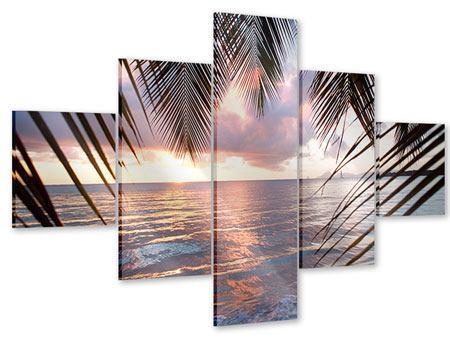 Acrylglasbild 5-teilig Unter Palmenblätter