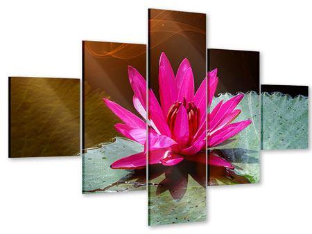 Acrylglasbild 5-teilig Der Frosch und das Seerosenblatt