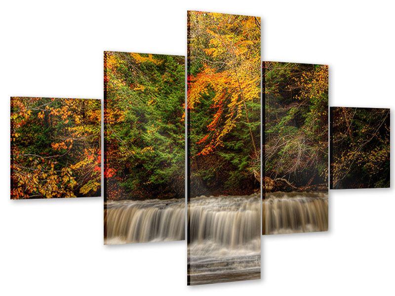 Acrylglasbild 5-teilig Herbst beim Wasserfall