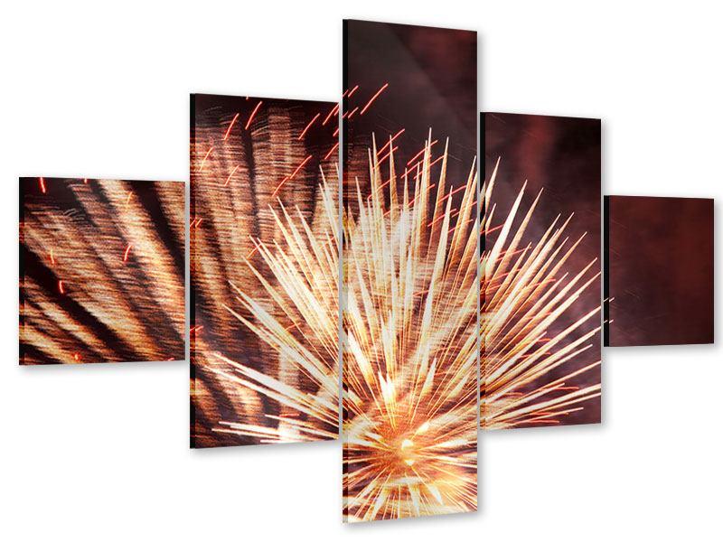 Acrylglasbild 5-teilig Close Up Feuerwerk
