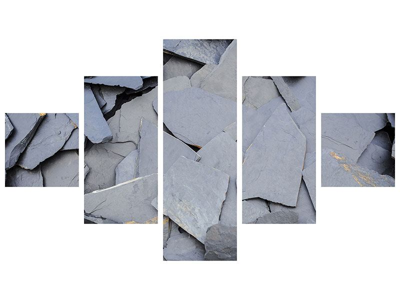 Acrylglasbild 5-teilig Schieferplatten