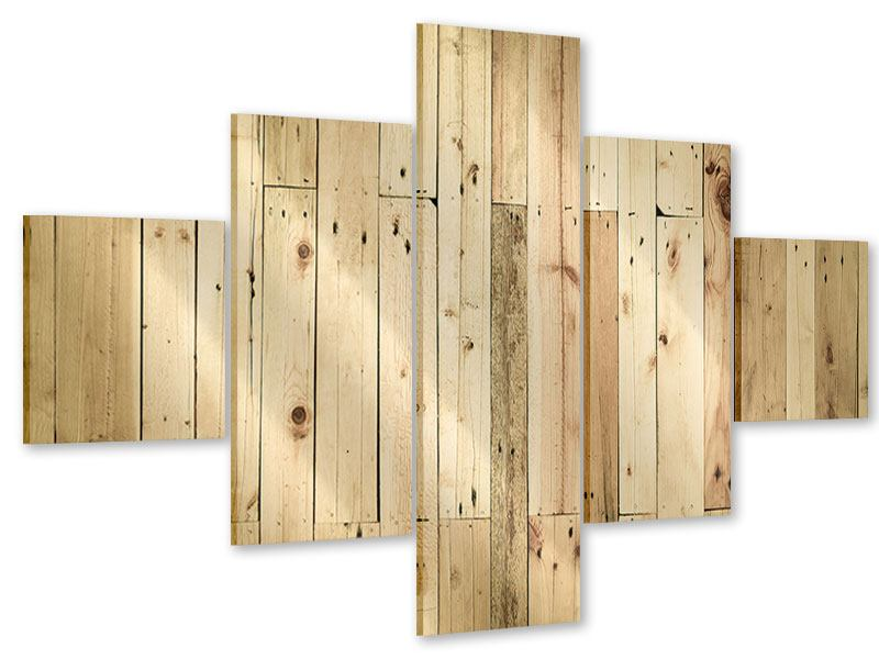 Acrylglasbild 5-teilig Holzpaneelen
