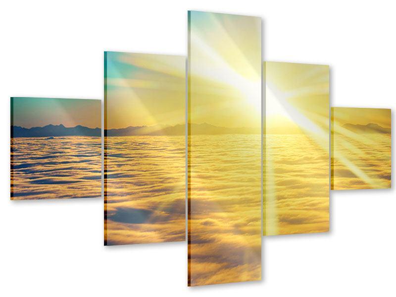 Acrylglasbild 5-teilig Sonnenuntergang über den Wolken