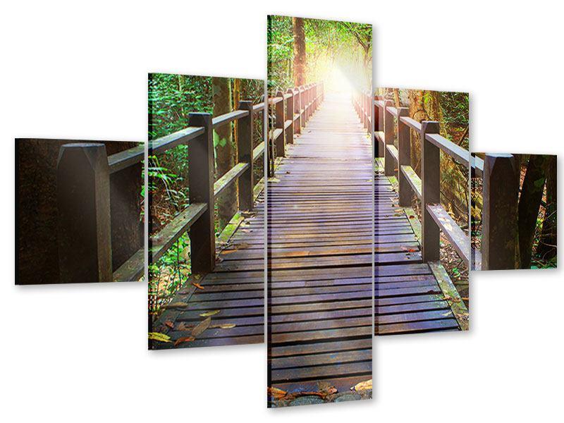 Acrylglasbild 5-teilig Die Brücke im Wald