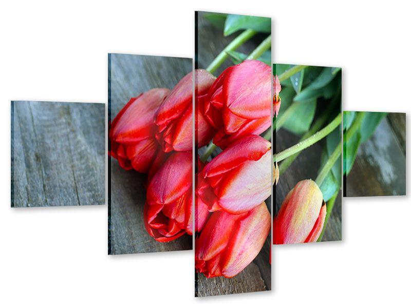 Acrylglasbild 5-teilig Der rote Tulpenstrauss