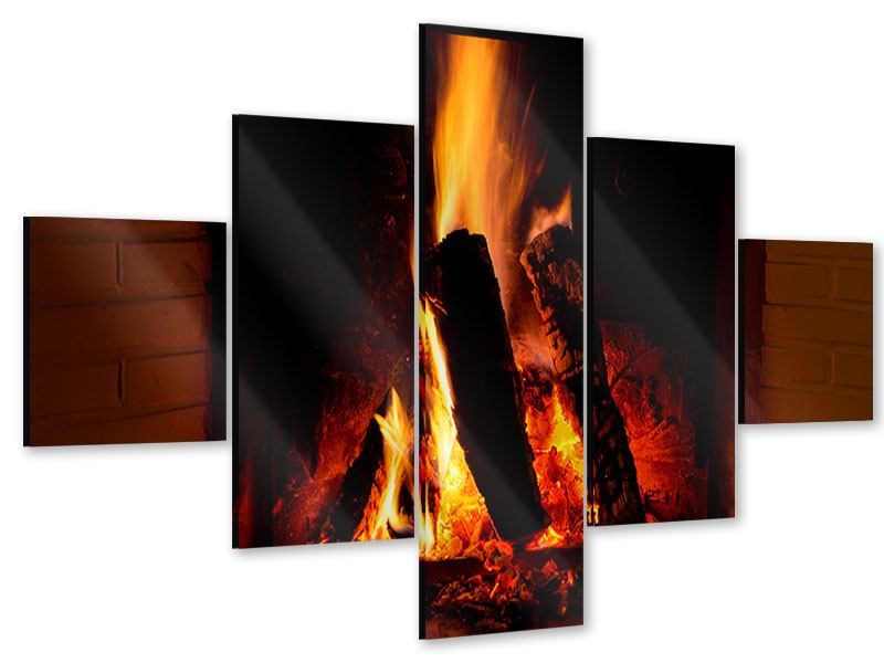 Acrylglasbild 5-teilig Feuer im Kamin