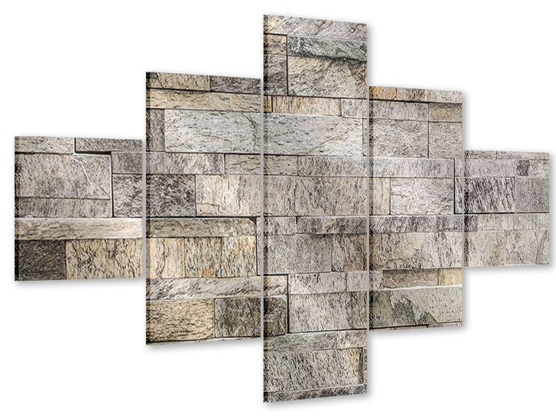 Acrylglasbild 5-teilig Elegante Steinmauer