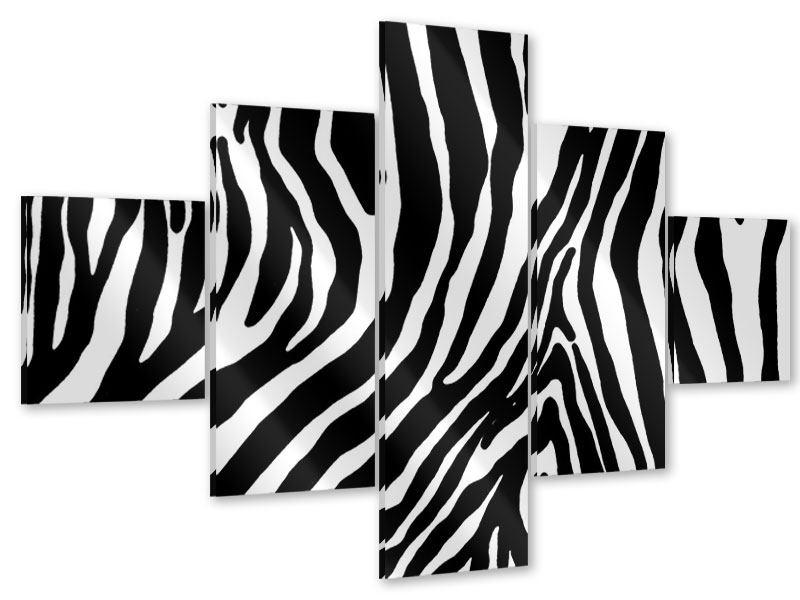 Acrylglasbild 5-teilig Zebramuster