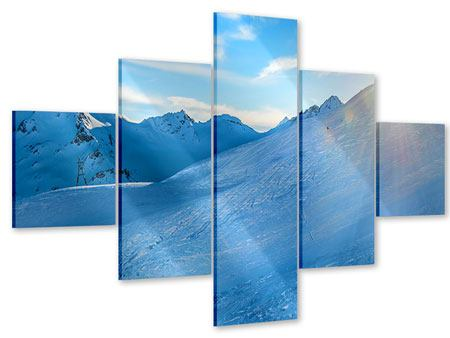 Acrylglasbild 5-teilig Sonnenaufgang in den Bergen