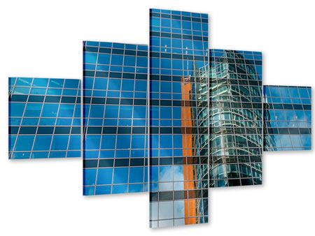 Acrylglasbild 5-teilig Wolkenkratzer-Spiegel