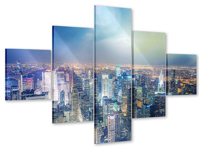 Acrylglasbild 5-teilig Skyline NY bei Sonnenuntergang
