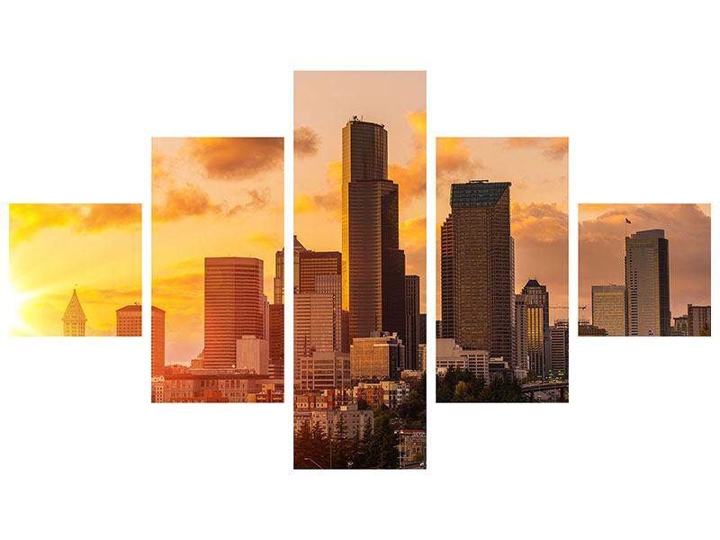Acrylglasbild 5-teilig Skyline Washington