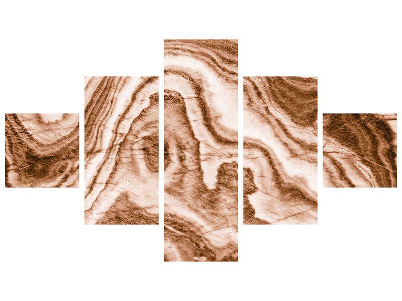 Acrylglasbild 5-teilig Marmor in Sepia