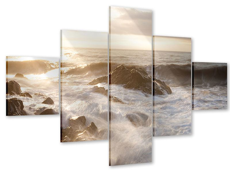 Acrylglasbild 5-teilig Meeresbrandung