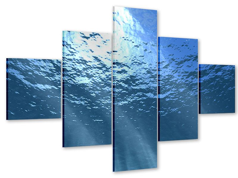 Acrylglasbild 5-teilig Sonnenstrahlen unter Wasser
