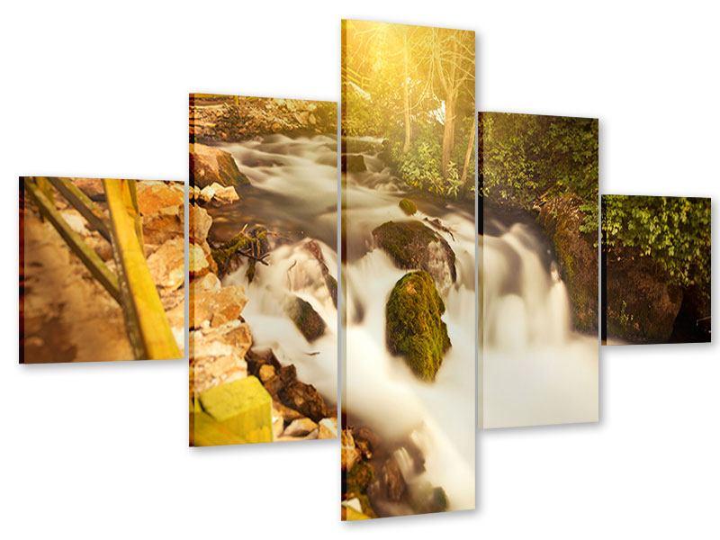 Acrylglasbild 5-teilig Sonnenuntergang am Wasserfall