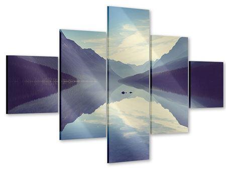 Acrylglasbild 5-teilig Bergspiegelung